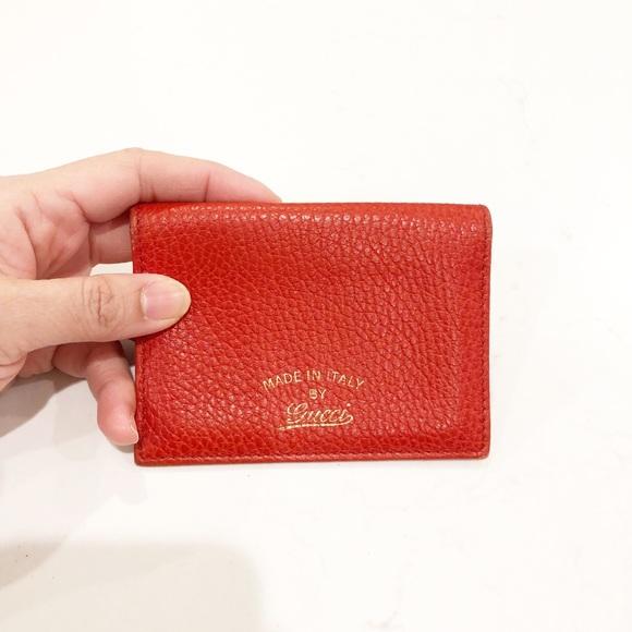 f80e32254ea GUCCI Leather Card Holder Wallet